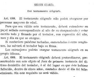 Codigo Civil 1889 testamento ológrafo